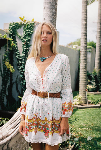 Gypsy Woman Mini Dress - Ivory