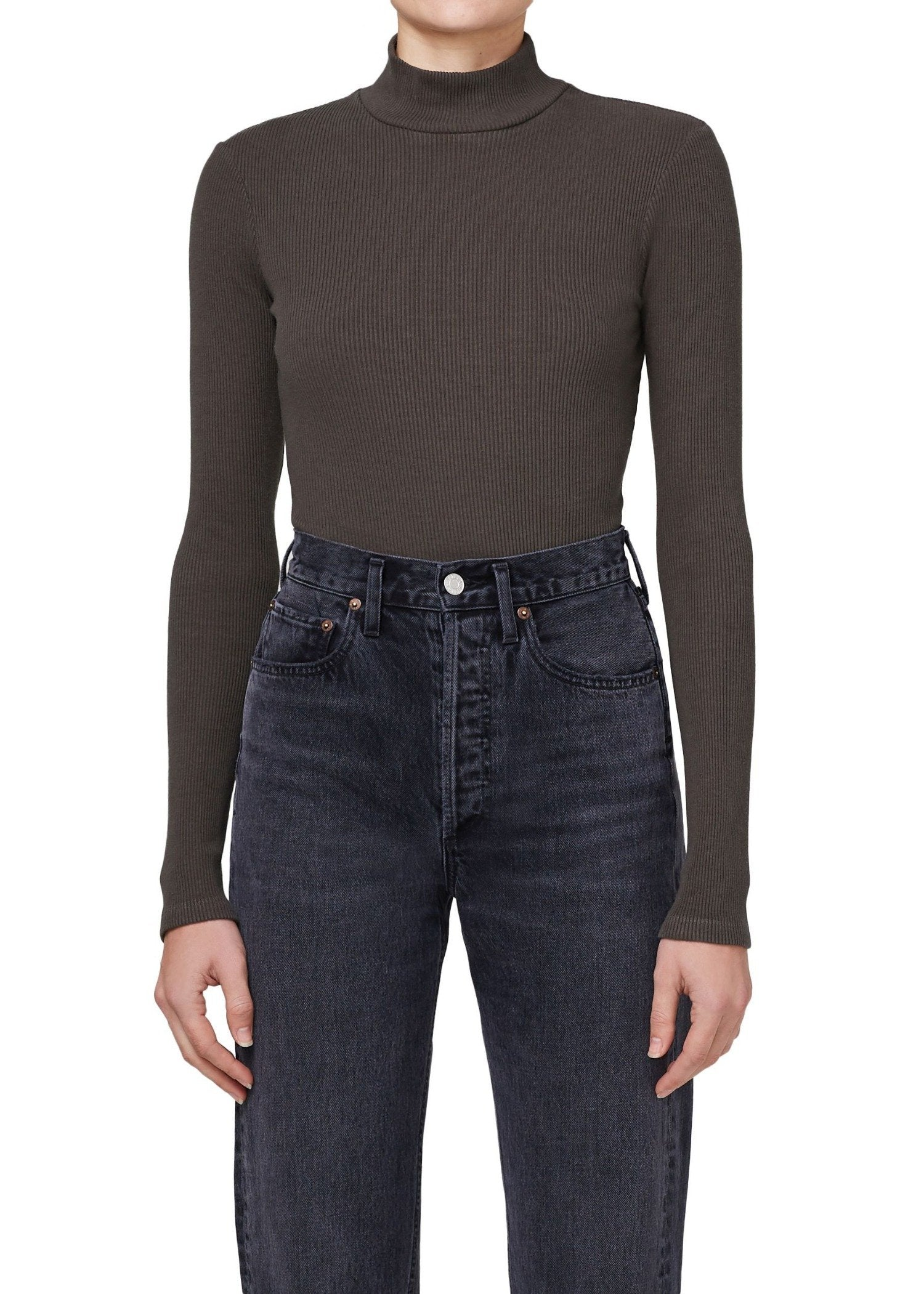 Load image into Gallery viewer, Turtleneck Long Sleeve Bodysuit - Foliage | Agolde - Women's Tops