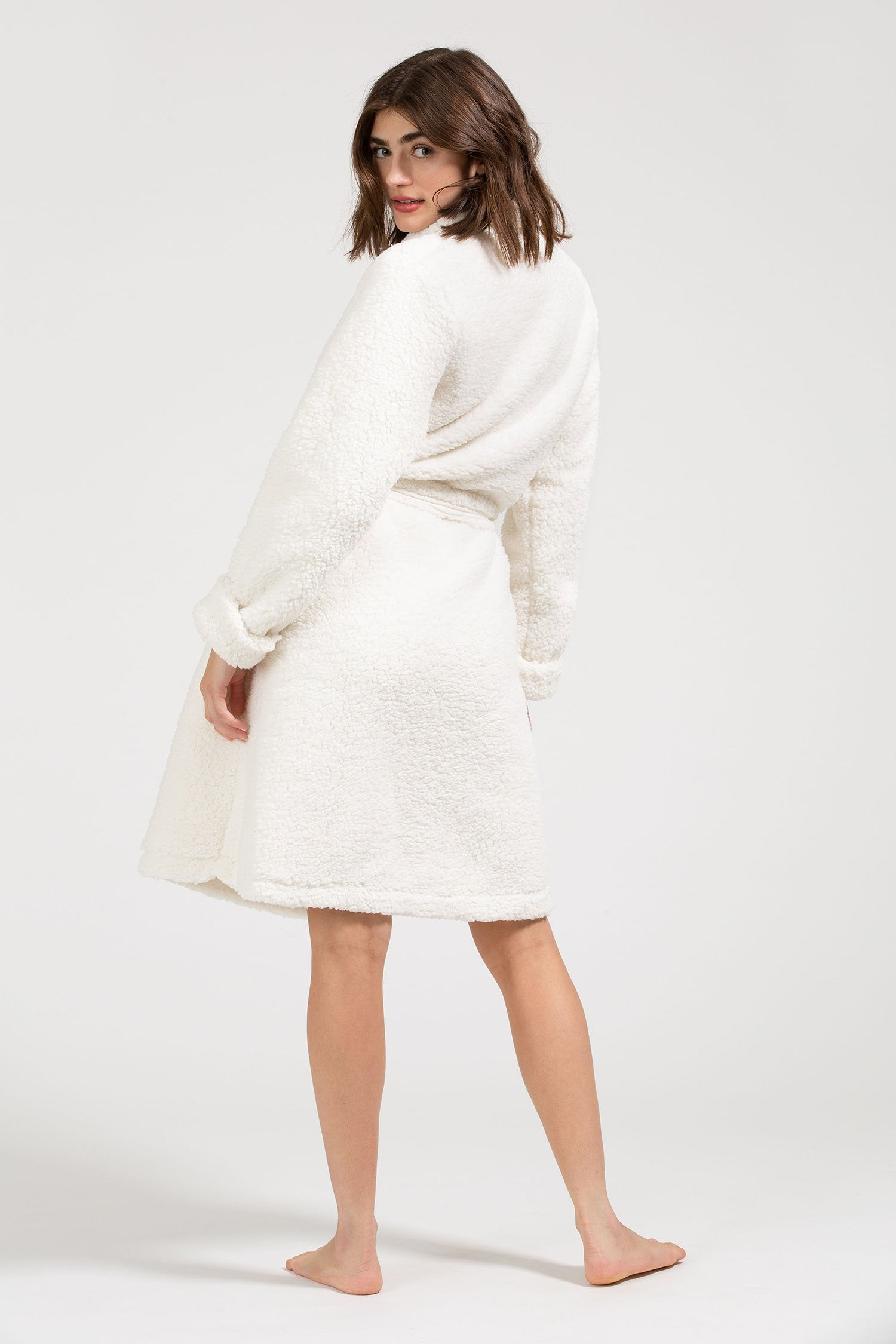 Load image into Gallery viewer, Alpine Chic Sherpa Robe - Ivory