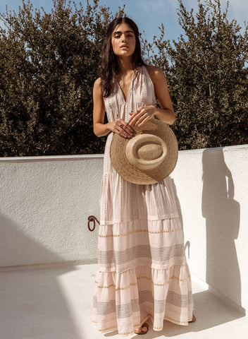 Arizona - Metallic Blush Scarf Maxi Dress