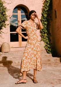 Asiya Skirt in Le Rose Floral Print Apricot by Faithfull the Brand