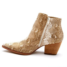 Load image into Gallery viewer, Matisse Astoria Snakeskin Ankle Bootie