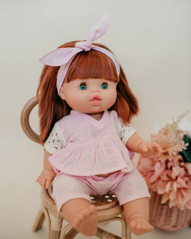 Dollie Headband + V-Neck Top + Pant - Pink Sand
