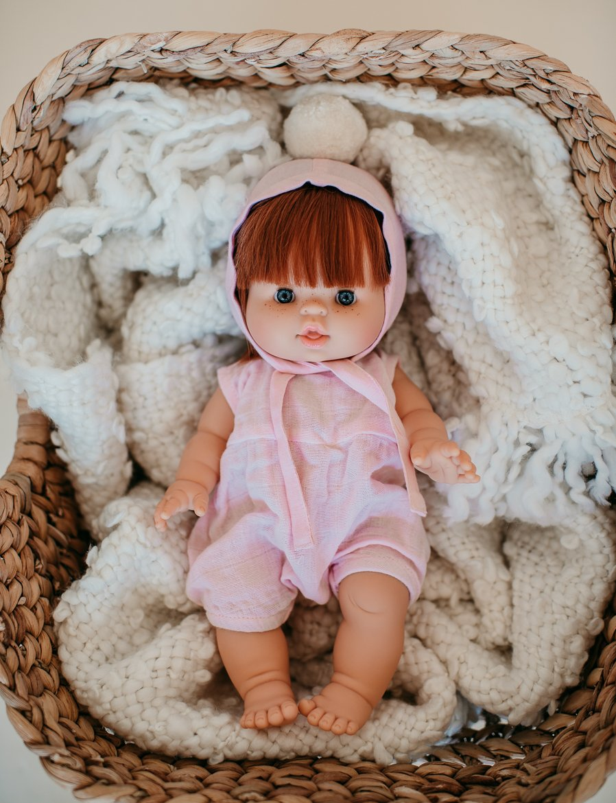 Dollie Pom Pom Bonnet - Pink Sand | Bohemian Mama Littles - Dollie Clothing