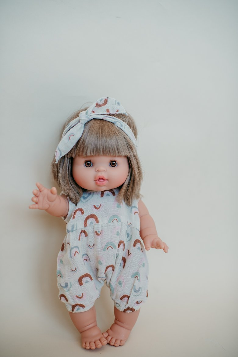 Load image into Gallery viewer, Dollie Romper + Headband Set - Over the Rainbow