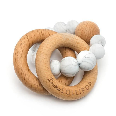 Bubble Wood & Silicone Rattle - Marble, Loulou Lollipop - Bohemian Mama