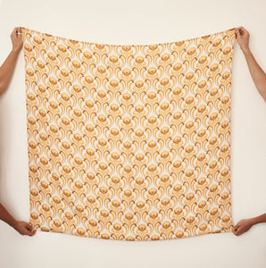 Bamboo + Organic Cotton Baby Swaddle- Ride the Wave Golden