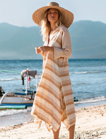 Beach Gold Bali Asha Connie Kaftan Sand | Komala Collection