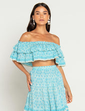 Load image into Gallery viewer, Beach Gold Bali Iris Jerry Top Lagoon | Womens Off The Shoulder Ruffle Tops
