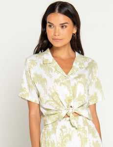 Beach Bali Gold Palm Tina Shirt Pear | Women's Print Button-Down Tops