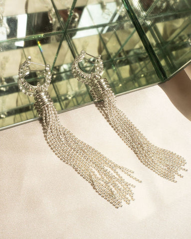 Beaded Tassel Hoops - Silver