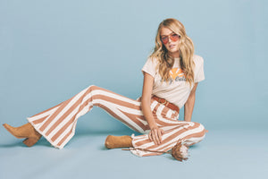 Berkeley Zip Up Bells in Cognac and Cream Stripe by Show Me Your Mumu | Summer Clothing for Women