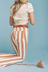 Berkeley Zip Up Bells in Cognac and Cream Stripe by Show Me Your Mumu | Pants for Women