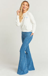 Berkeley Zip Up Bells in Fountain Stripe from Show Me Your Mumu - High Waisted Denim