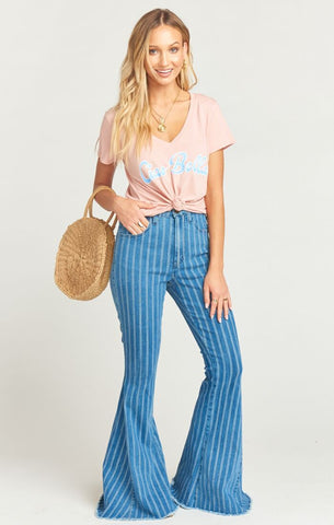 Berkeley Zip Up Bells in Fountain Stripe from Show Me Your Mumu for Women