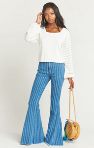 Berkeley Zip Up Bells in Fountain Stripe from Show Me Your Mumu - Spring Clothing for Women