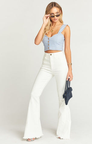 Berkeley Zip up Bells in Pearly White from Show Me Your Mumu - High Waisted Denim