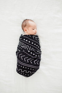 Muslin Swaddle - Mudcloth - Black (Swaddle) by Loulou Lollipop