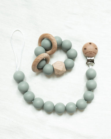 Bohemian Mama Littles 2pc Bundle Pacifier Clip + Teething Toy - Sage