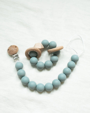 Bohemian Mama Littles 2pc Bundle Pacifier Clip + Teething Toy - Ether