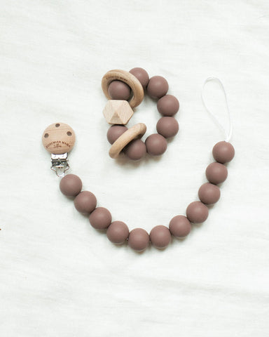 Bohemian Mama Littles 2pc Bundle Pacifier Clip + Teething Toy - Burlwood