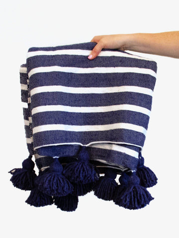 Stripes & Tassels Throw - Navy by Moon Water Co.