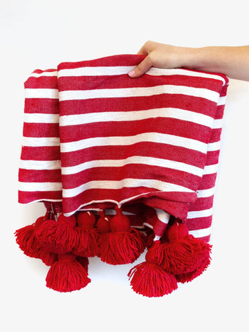 Moroccan Pom Blanket, Cherry Red
