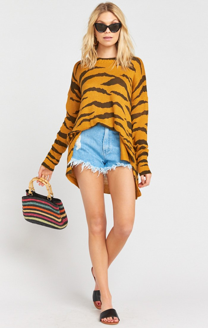 Show Me Your Mumu Bonfire Sweater Great Tiger Knit Oversized Sweaters