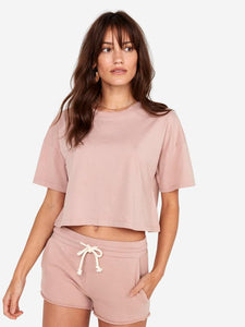 Boxy Cropped Crew - Rose