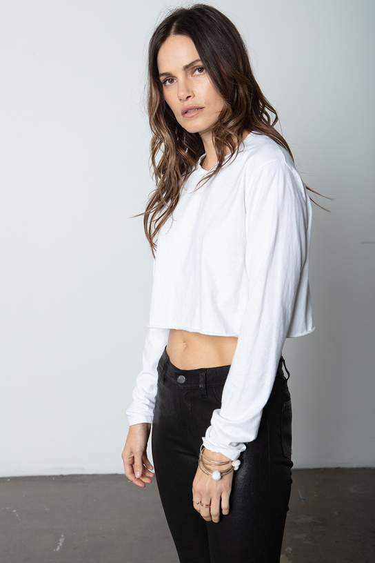 Boyfriend Crop Long Sleeve - White