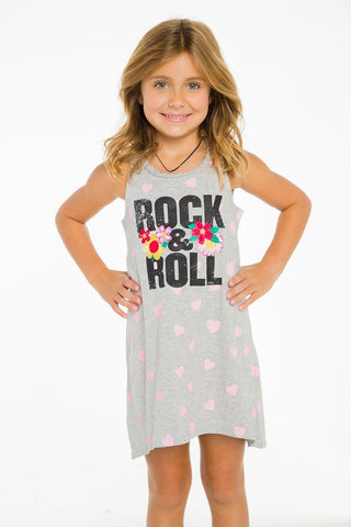 Rock and Roll Flowers T-Shirt Dress
