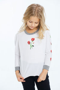 Rosebud Triblend with Puff Sleeves by Chaser Kids