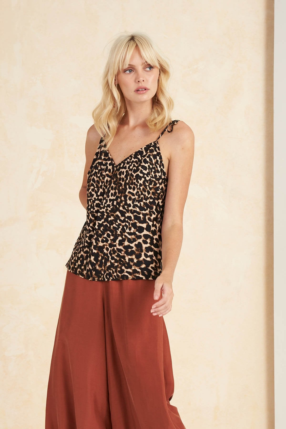Colca Bias Cami Top in Leopard by Tigerlily