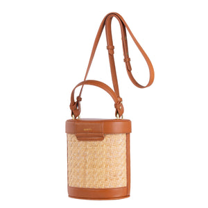 Sancia Camillo Bucket Bag in Cognac Rattan | Tans Bags