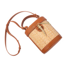 Load image into Gallery viewer, Sancia Camillo Bucket Bag in Cognac Rattan | Bag with Gold Accents