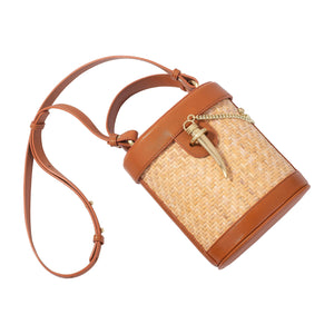 Sancia Camillo Bucket Bag in Cognac Rattan | Bag with Gold Accents
