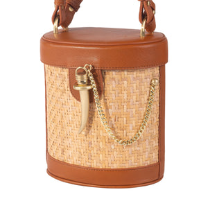 Sancia Camillo Bucket Bag in Cognac Rattan | Top Handle Bags