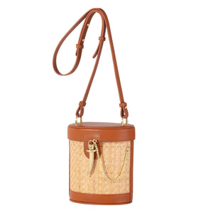 Sancia Camillo Bucket Bag in Cognac Rattan | Womens Bags