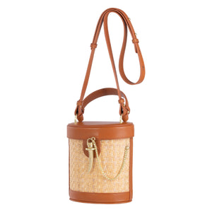 Sancia Camillo Bucket Bag in Cognac Rattan | Leather Bags