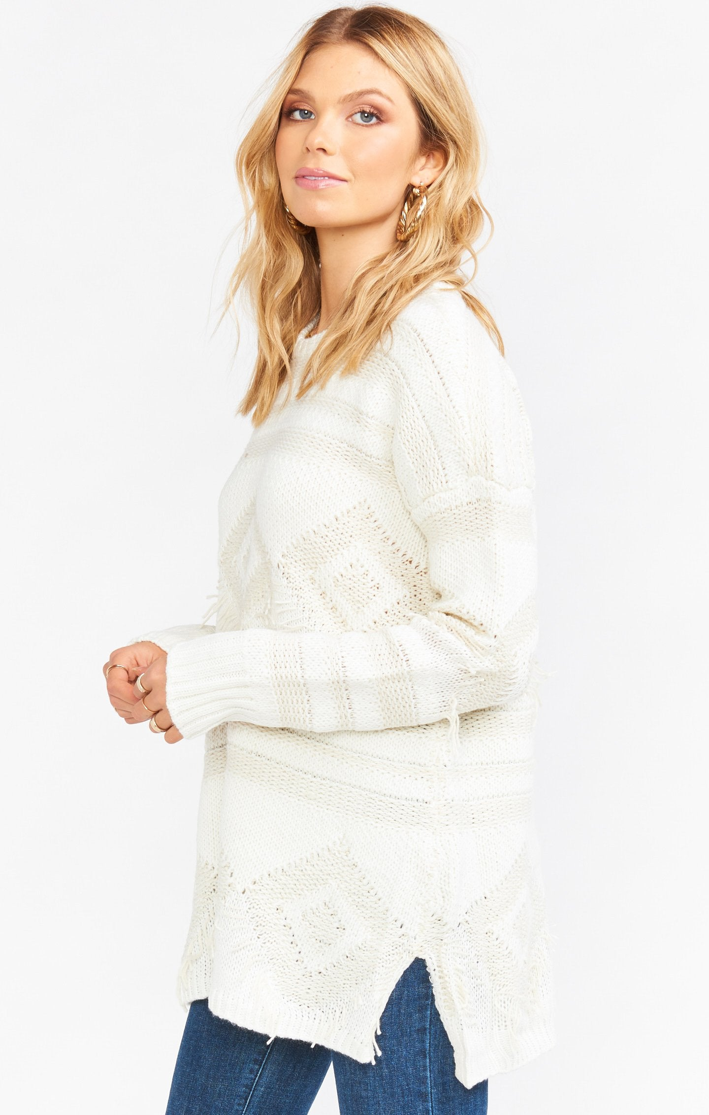 Load image into Gallery viewer, Canyon Sweater - Geo Fringe Cream Knit