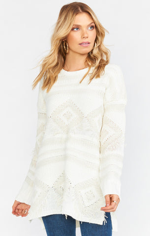 Canyon Sweater - Geo Fringe Cream Knit