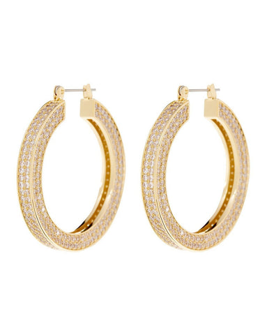 Pave Celine Hoops - Gold