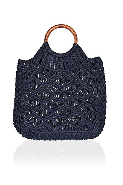 Load image into Gallery viewer, Cotton Cord Macreme Handheld Tote in Navy by America & Beyond