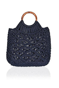 Cotton Cord Macreme Handheld Tote in Navy by America & Beyond