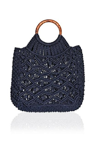 Cotton Cord Macreme Handheld Tote - Navy