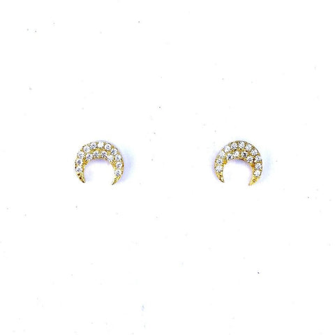 Crescent Pave Stud Earrings