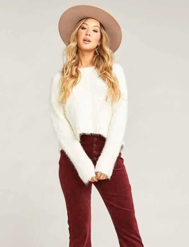 Show Me Your Mumu Cropped Varsity Sweater Knubby Knit Cream