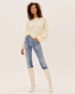 Dawn Hi Low Pullover - Ivory | For Love and Lemons - Women's Clothing