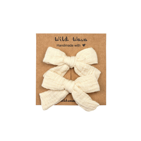 Wild Wawa Bow Clip Set Natural