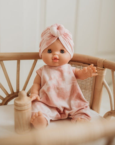Dollie Turban + Romper - Pink Sand